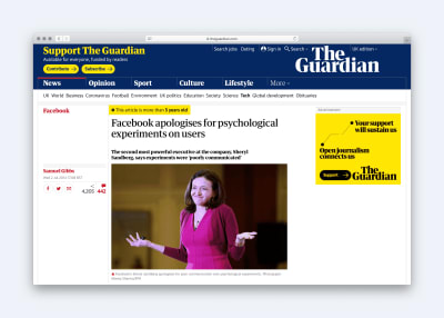 Article headline: Facebook apologises for psychological experiment on users
