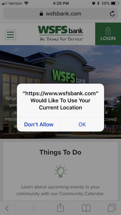 WSFS Bank politely asks visitors for access to geolocation data.