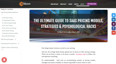 A Cobloom article on how to price SaaS products