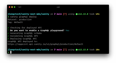Terminal output after deploying the Sanity GraphQL API using the CLI.