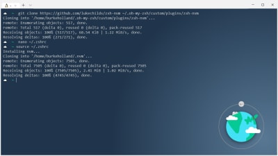 The terminal showing the install progress of nvm