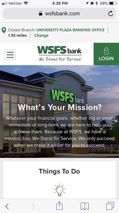 A sticky top bar is now presented to the mobile user on the WSFS Bank website.