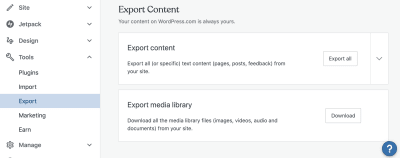 WordPress Export Content screen
