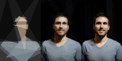 Three different versions showing the SVG lazy loading technique by José M. Pérez, a version similar to Cubism art on the left, a pixelated blurred version in the middle, and a proper picture of José himself on the right