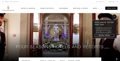 Interactive pop-up widget on Four Seasons