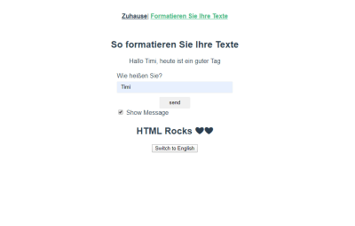 Formatting page with personalized message in Deutsch.