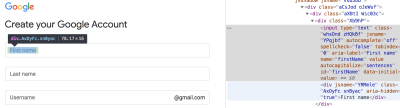 Screenshot of gmail form markup