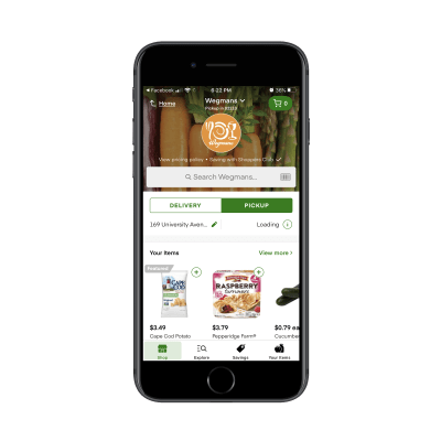 Instacart mobile app - shopping with Wegmans