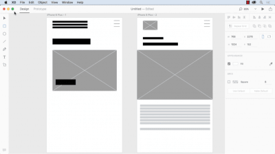 Example of wireframes for a mobile app in Adobe XD.