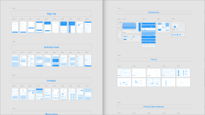 Adobe XD UI Kits for mobile (left) and web (right) are a great way to get a head start at the beginning of a design project. By providing typical components (Sign Up, Forms, Profiles), they save you a considerable amount of time, removing the need to reinvent the wheel by redrawing commonly used components.