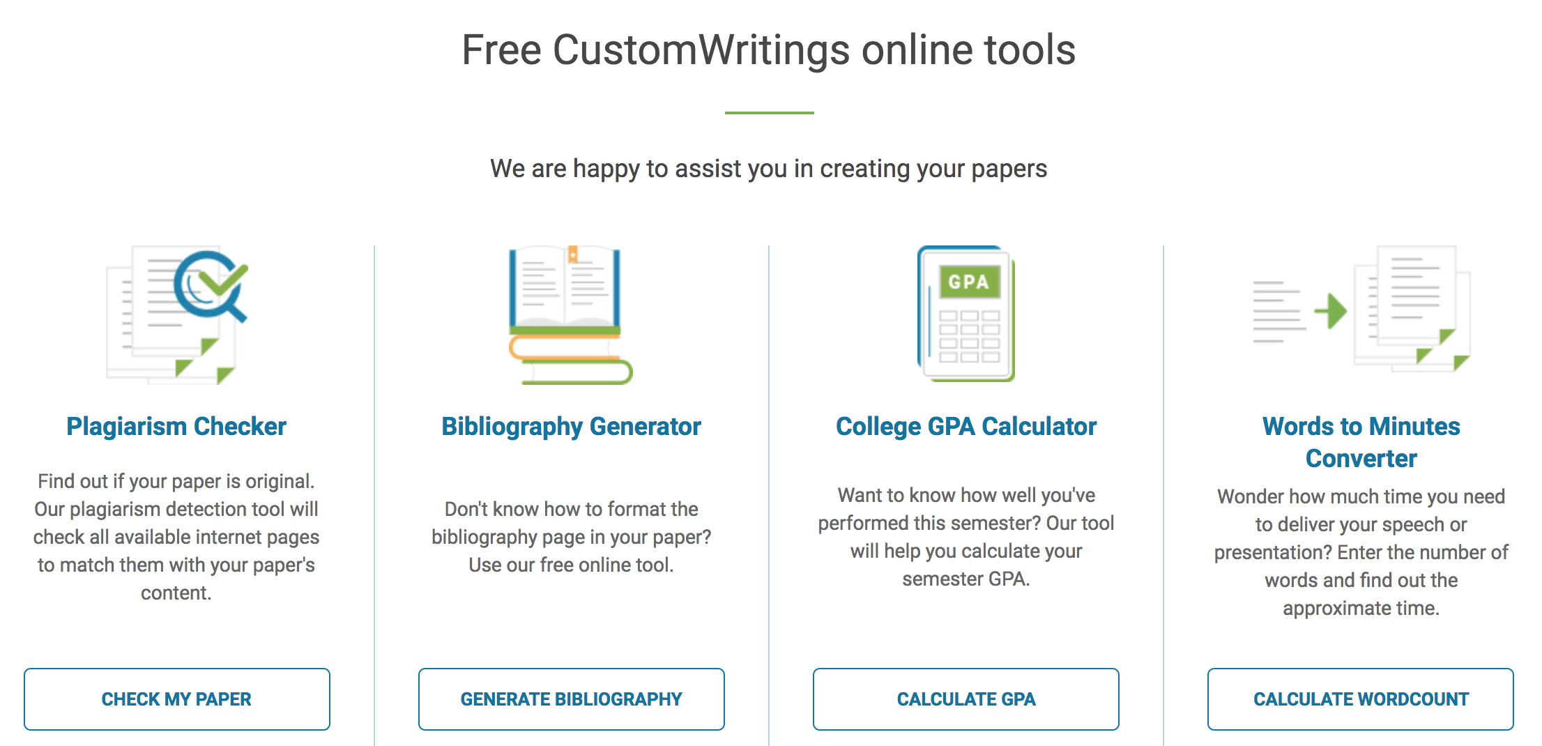 CustomWritings' free tools include a plagiarism checker, a words to minutes calculator, and more