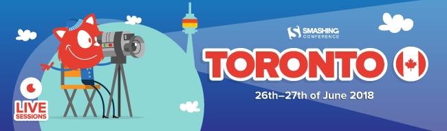 The SmashingCat is filming something. SmashingConf Toronto 26-27 of June, 2018