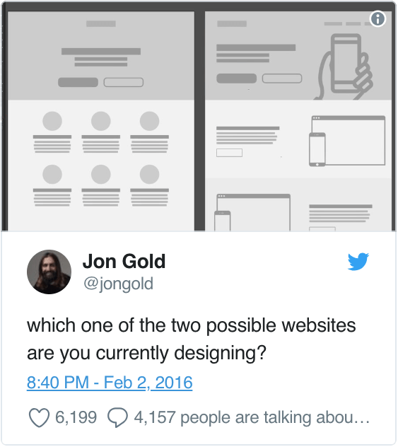 "A tweet by Jon Gold asking: ""which one of the two possible websites are you currently designing?"""