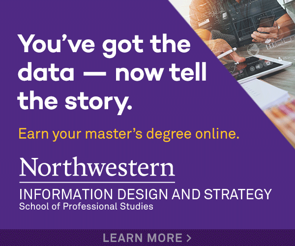 "A banner advert that reads: ""You've got the data, now tell the story. Earn your master's degree online with Northwestern Univsersity's information design and strategy class"""