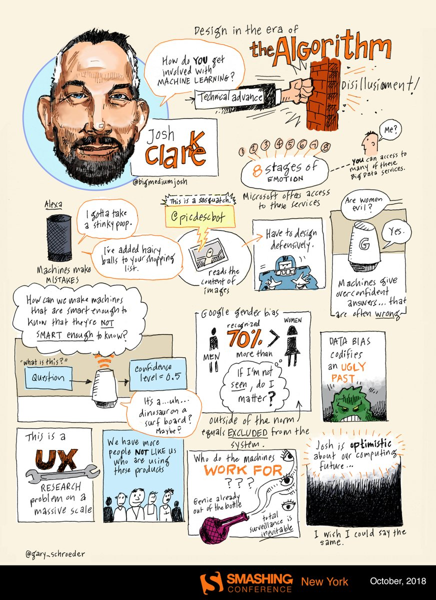 A live-sketchnote from Josh Clark's talk on how to use AI as design material in your everyday work.