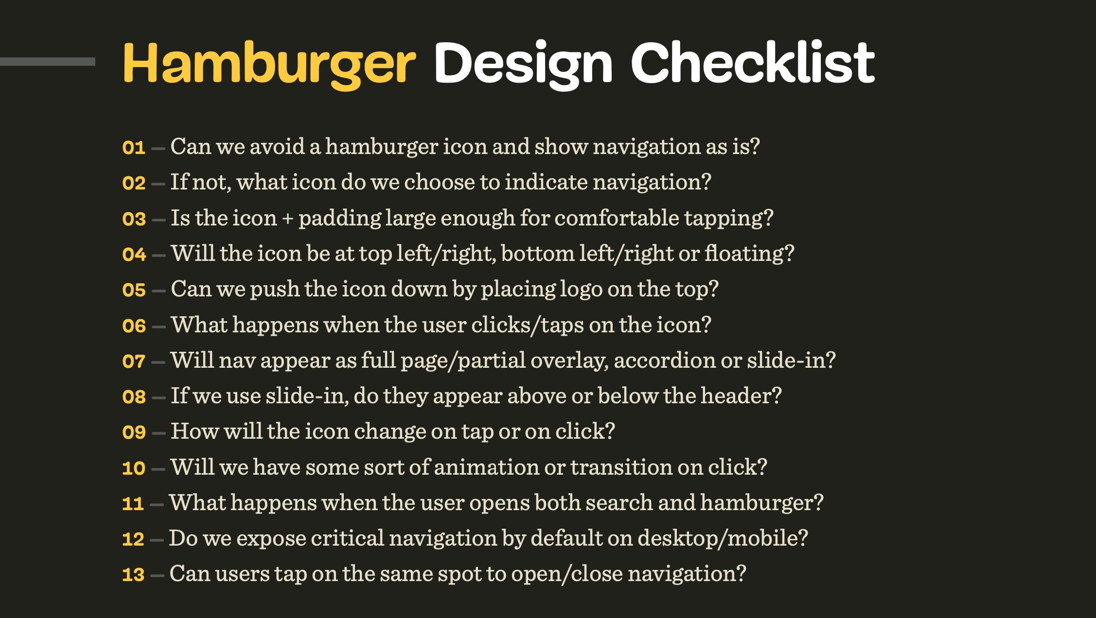 Hamburger design checklist