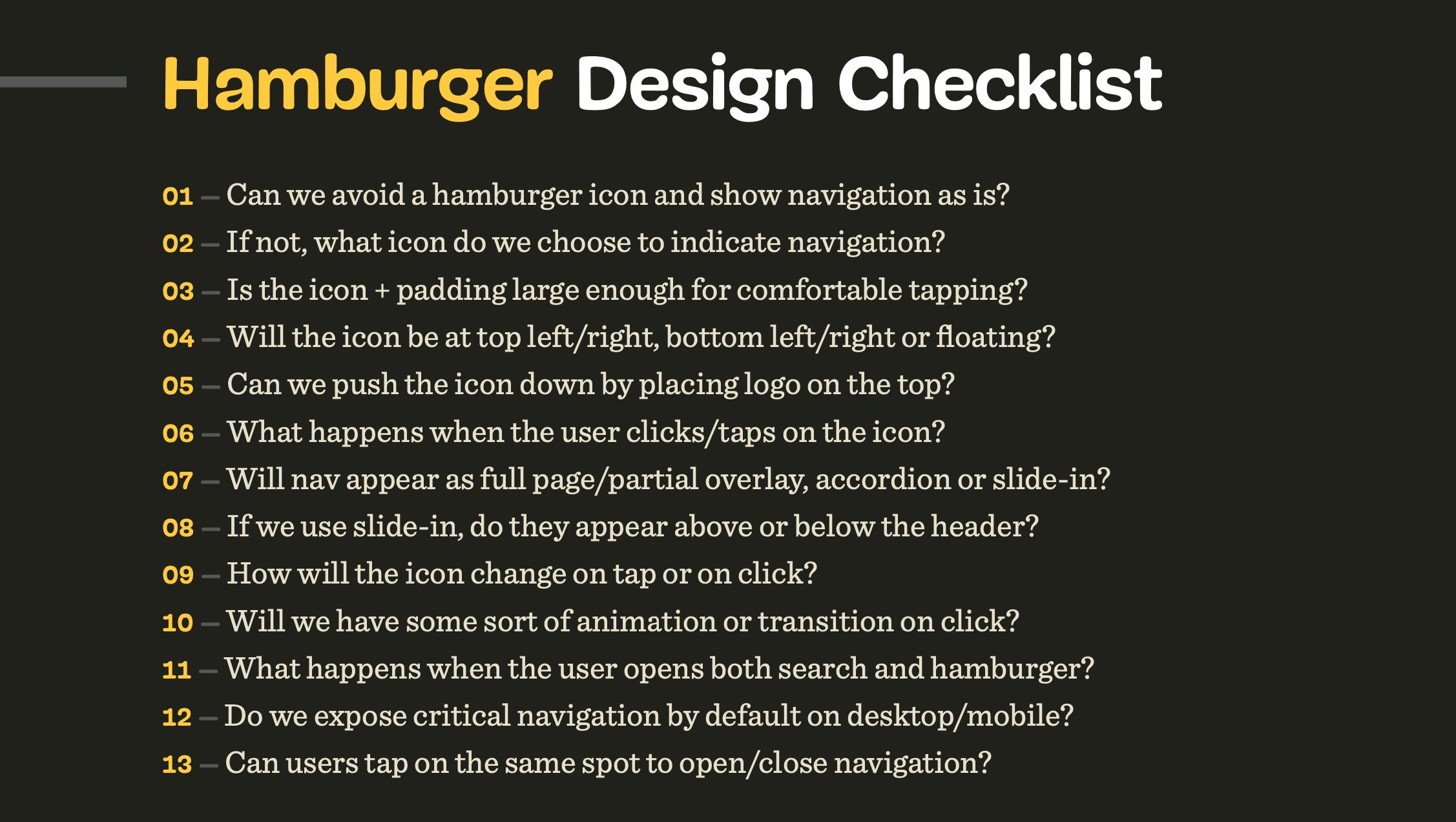 Hamburger design checklist