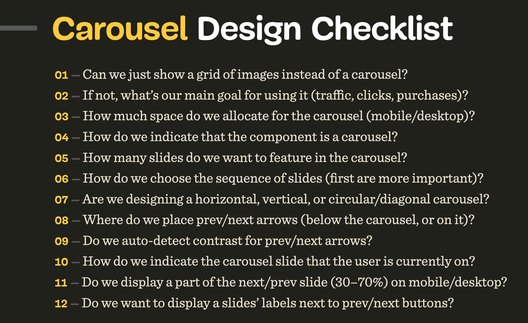 Carousel Design Checklist