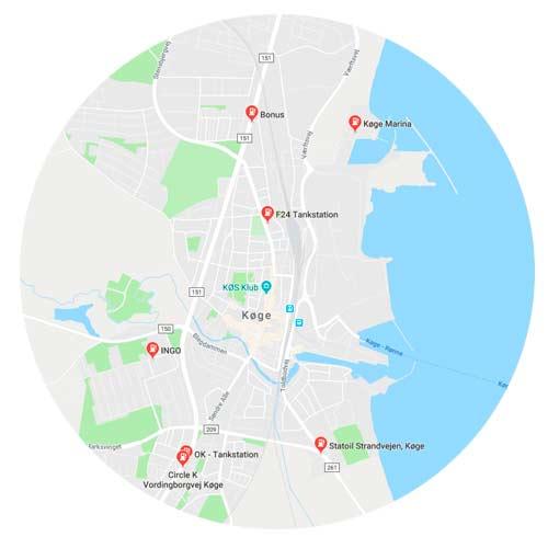 Kort over tankstationer i Køge tæt på biludlejning