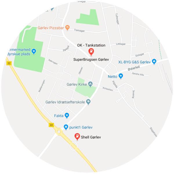 Kort over tankstationer i Gørlev
