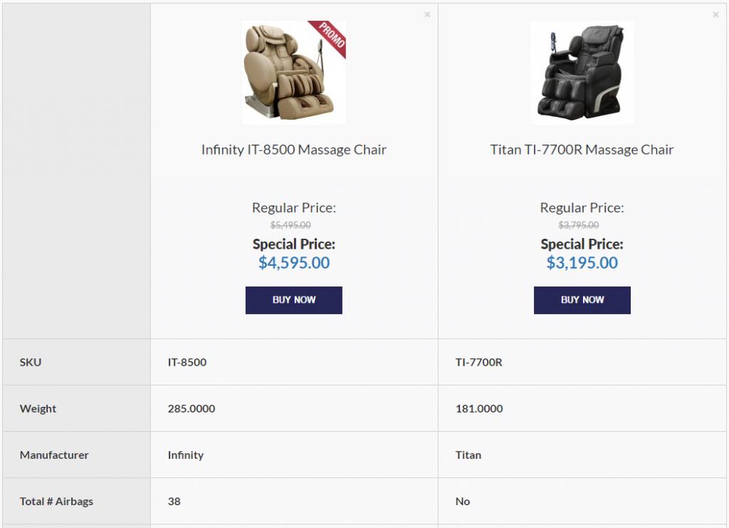 Massage Chair Comparison Tool