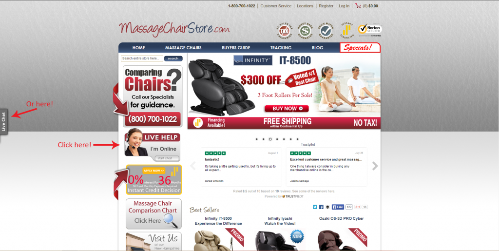 Massage Chair Store Chat Buttons