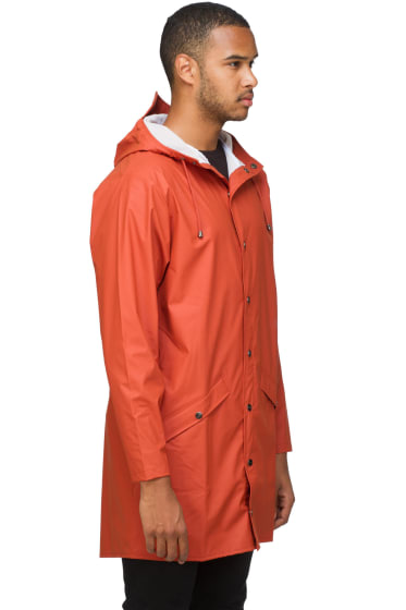 SHOP Men - RAINS: Long Hooded Lightweight Rain Jacket - Rust ...