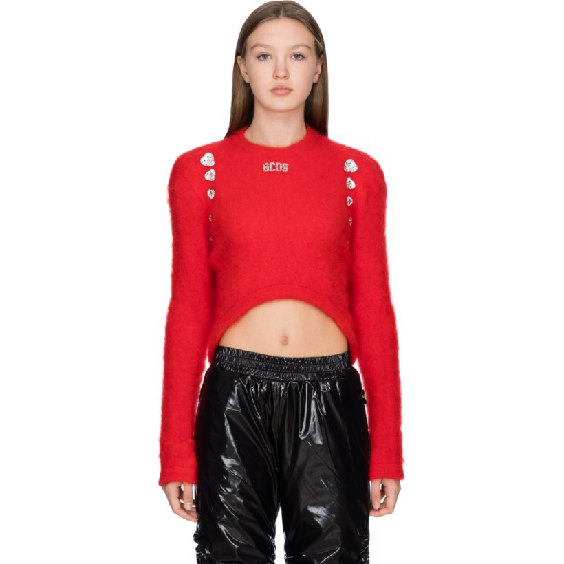 58519c4b21d9f GCDS  Mohair Embellished Hearts Crop Pullover - Red