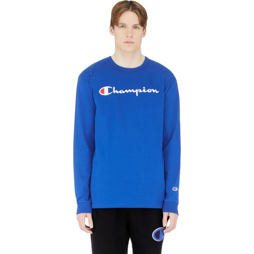 a3b80b01a599 Champion: Long Sleeve Script Logo T-Shirt - Surf the Web | influenceu
