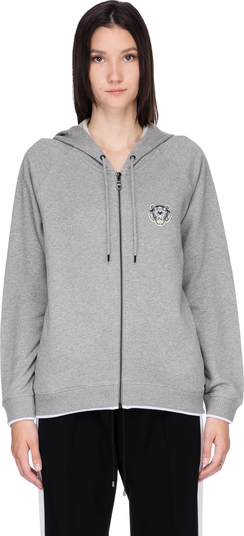 f6cd6b14 Kenzo - Tiger Crest Zip Hoodie - Dove Grey