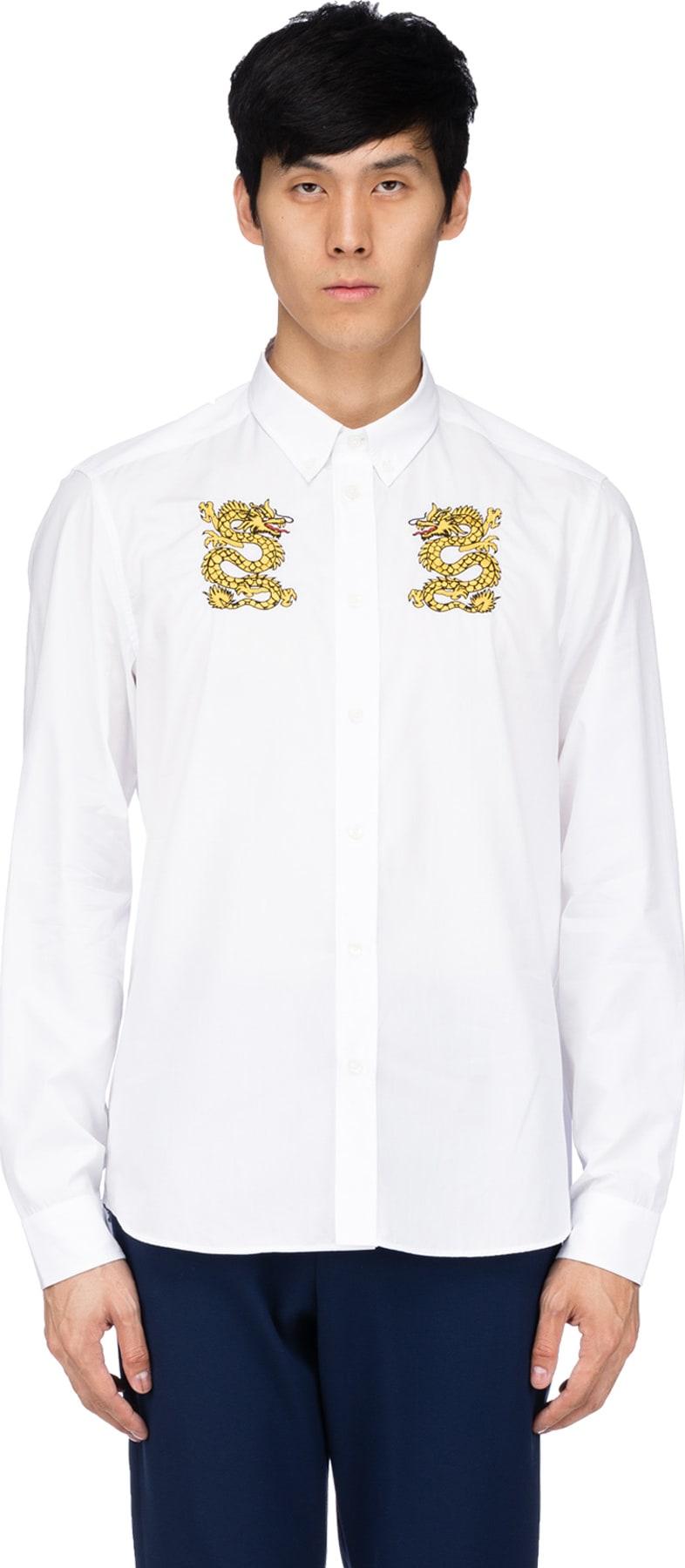0b67104b Kenzo: Embroidered Dragon Shirt - White | influenceu