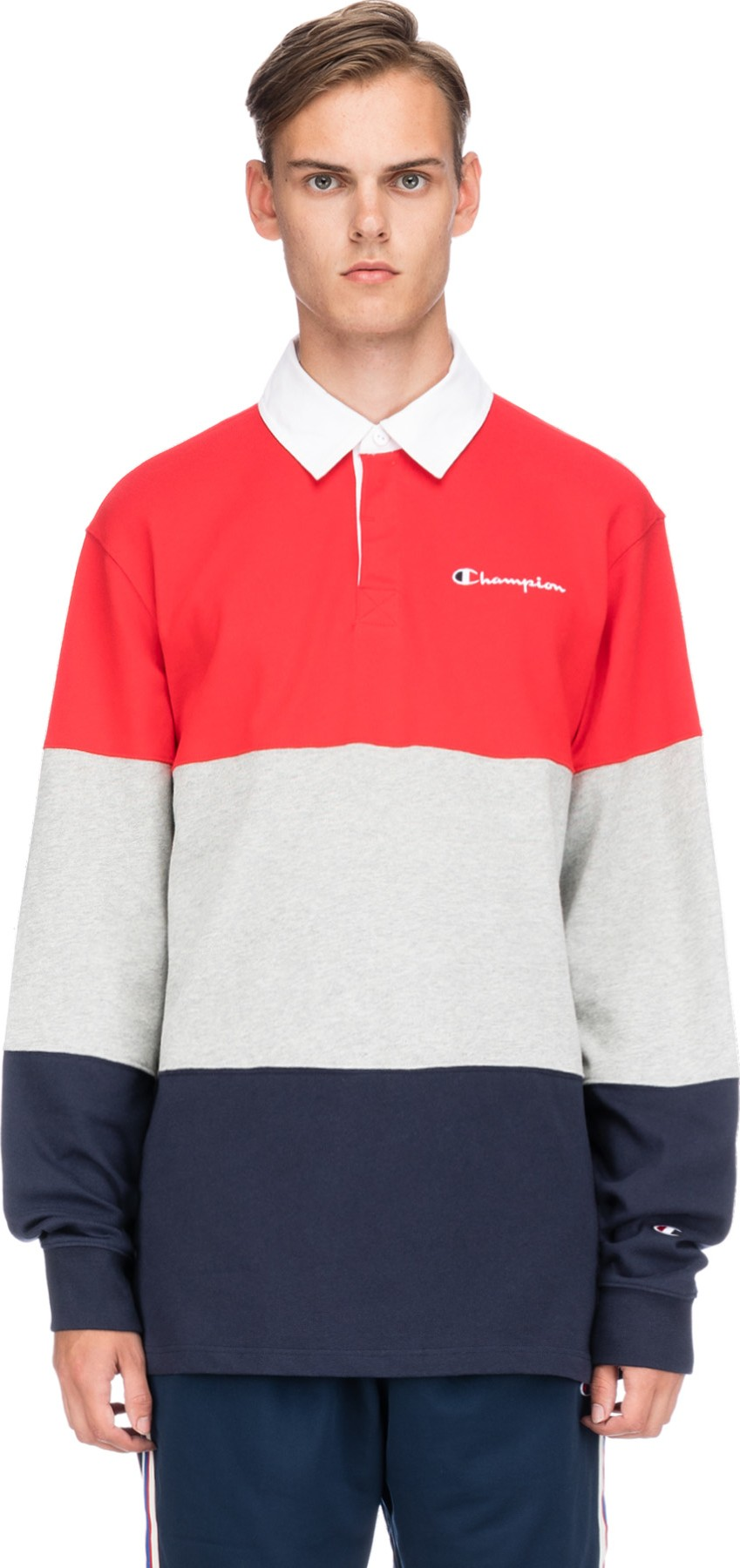 9682e7bdb30 Champion: Reverse Weave Colorblock Rugby Shirt - Scarlet/Oxford ...