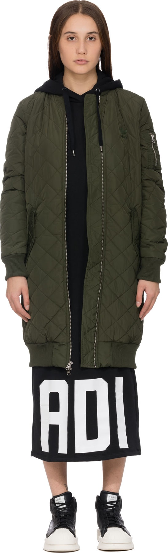 d7a384787 adidas Originals - Long Quilted Bomber - Night Cargo