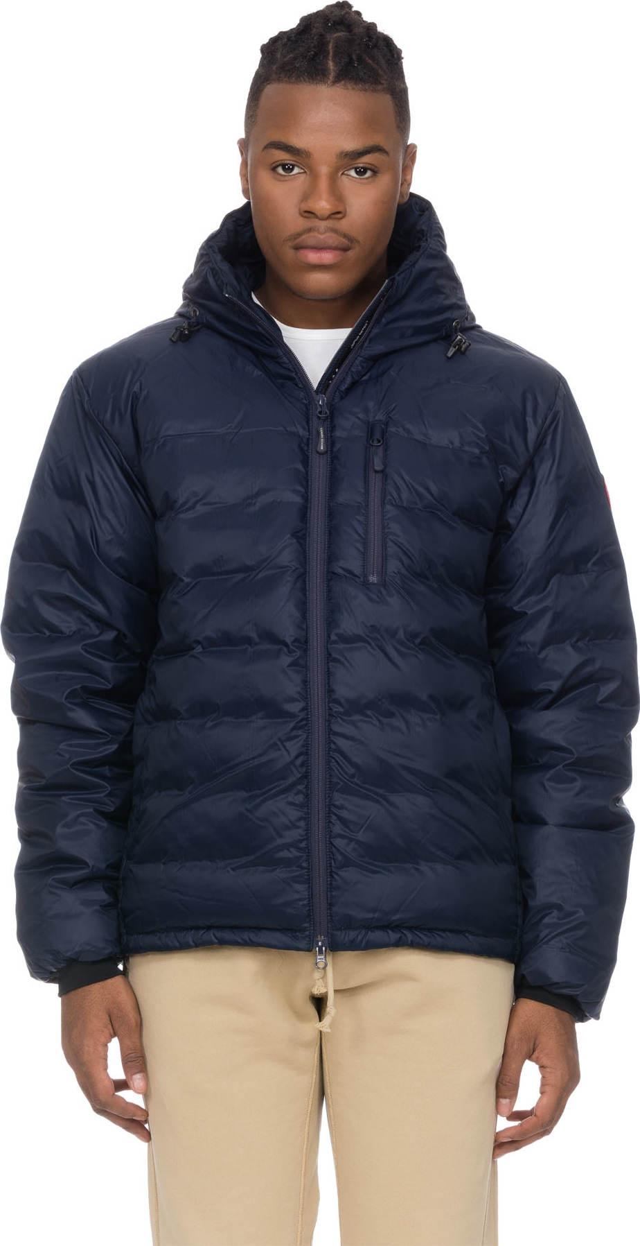canada goose lodge hooded jacket blue