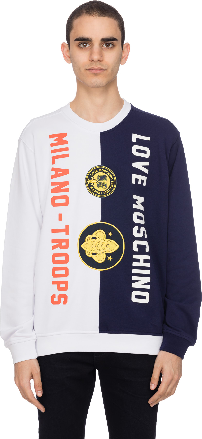 shop men love moschino milano troops pullover white navy sweaters pullover influence u. Black Bedroom Furniture Sets. Home Design Ideas