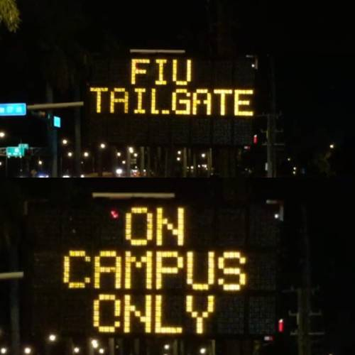 fiu sign on sw 117 ave regaring tailgate
