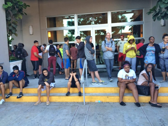 Residents stranded outside of 109 Tower due to fire early Tuesday morning