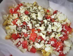 greek fries topped with feta cheese
