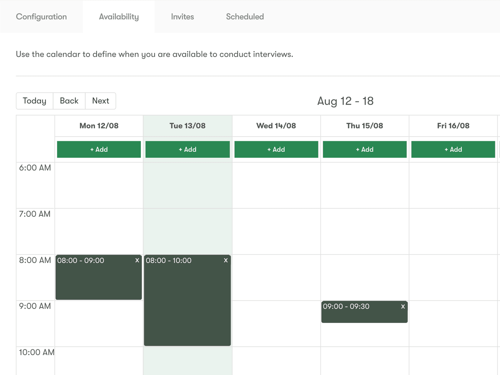 Interview Scheduling Availability