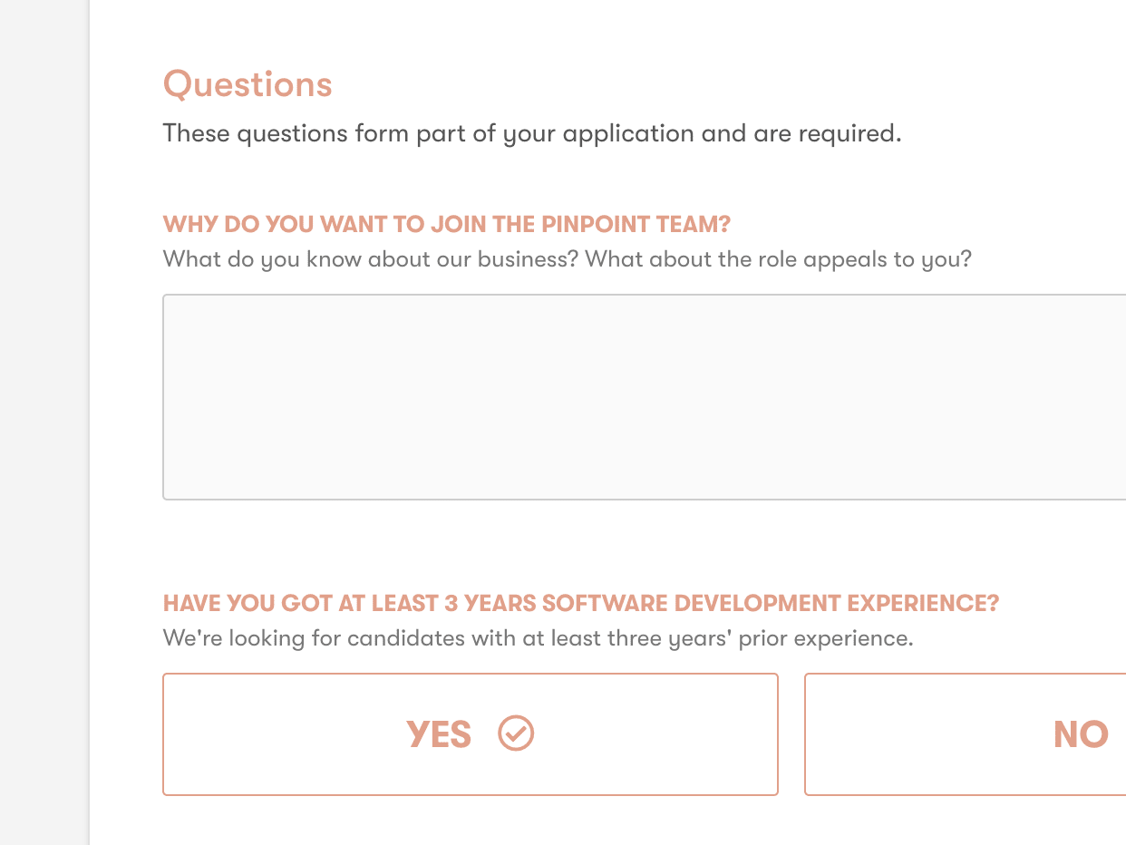 Pinpoint customisable application form screenshot