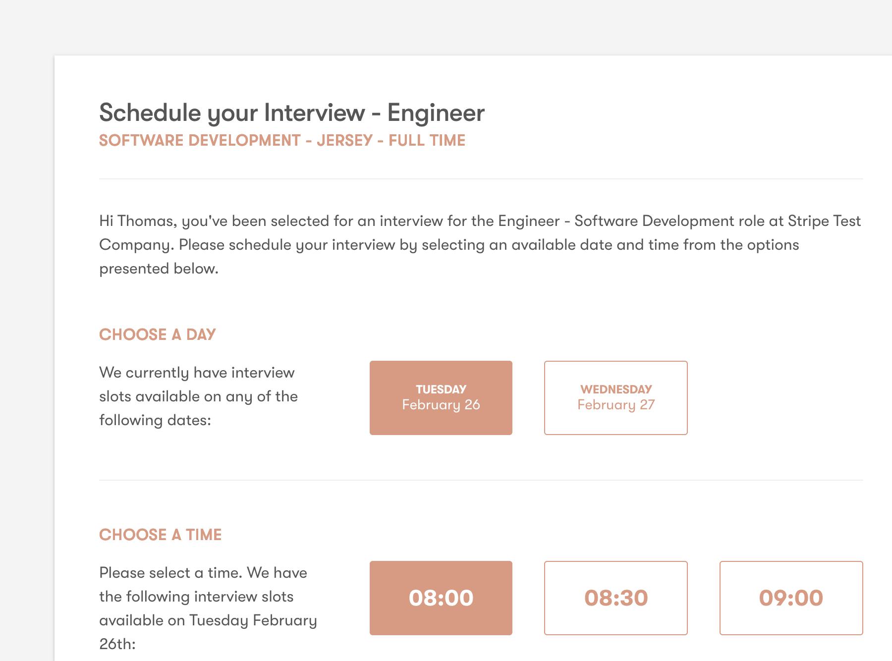 Pinpoint candidate interview scheduling screenshot