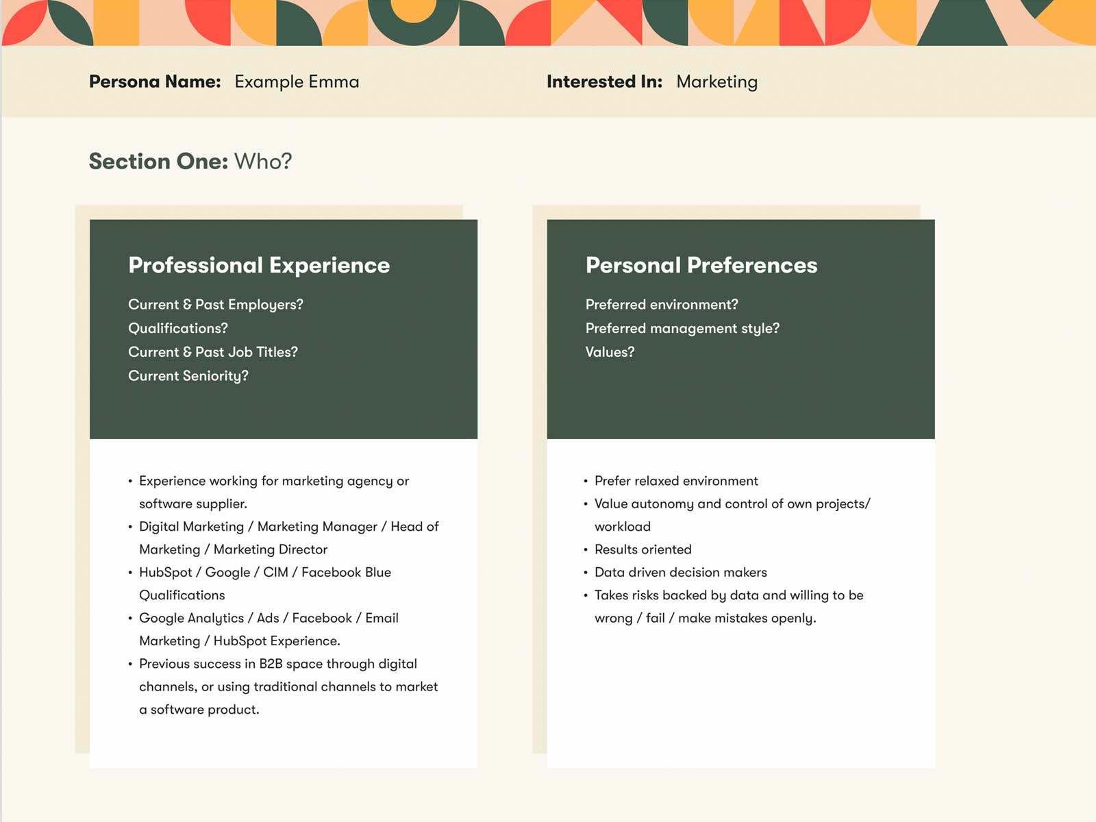Candidate Persona Template Example