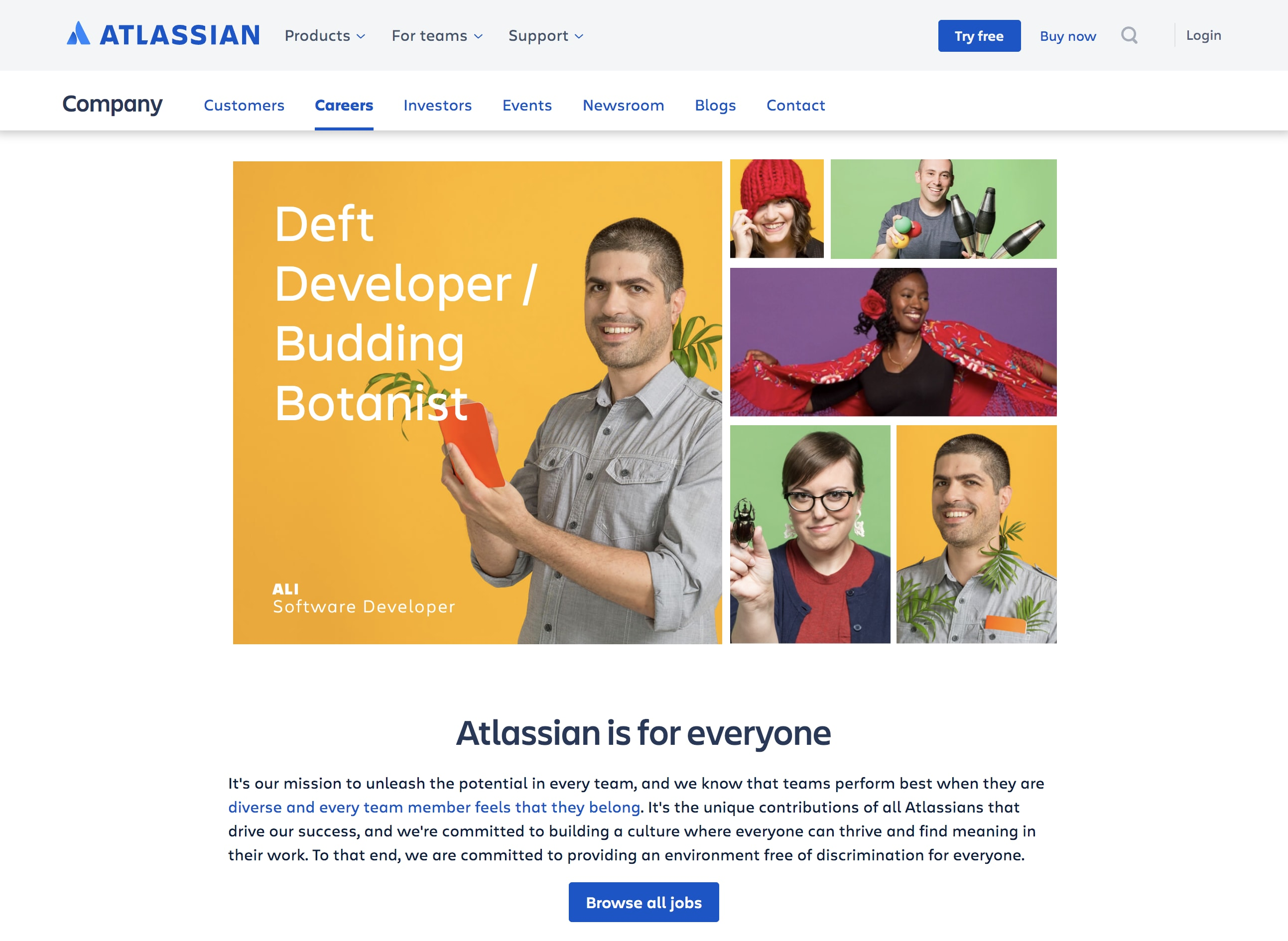 Atlassian Career Page Example