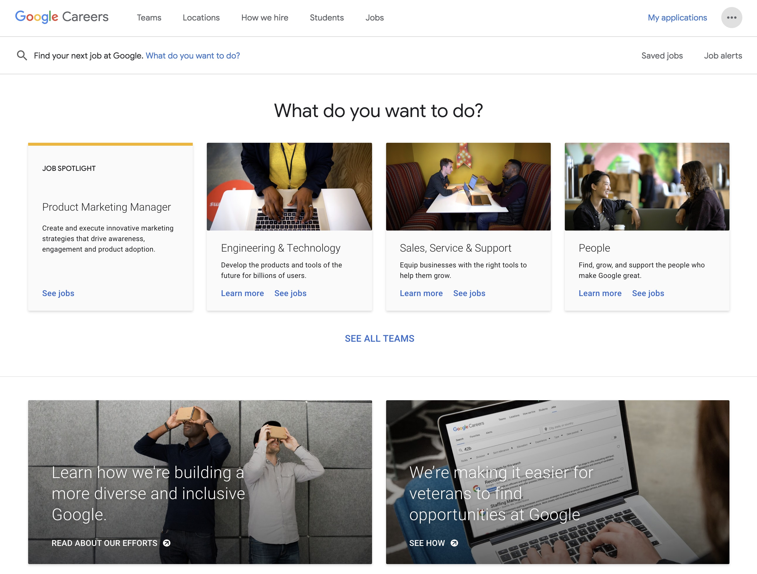 Google Career Page Example
