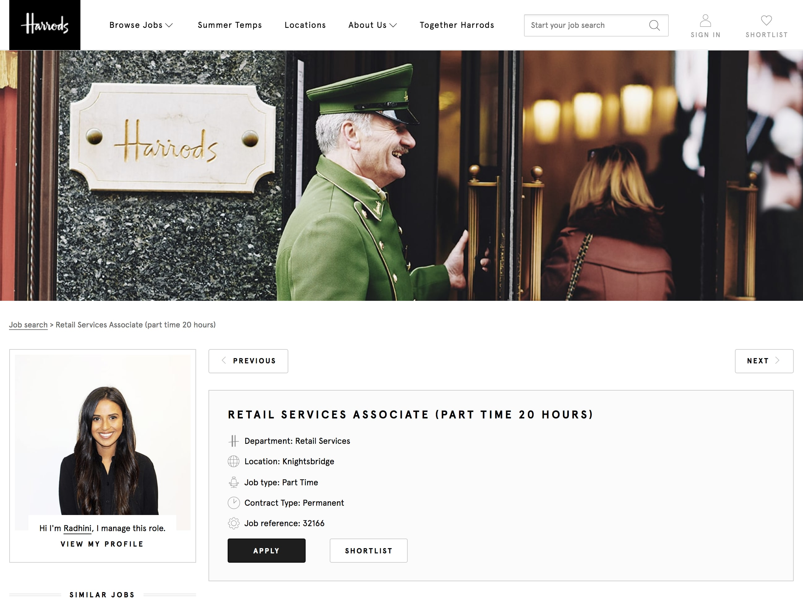 Harrods Career Page Example