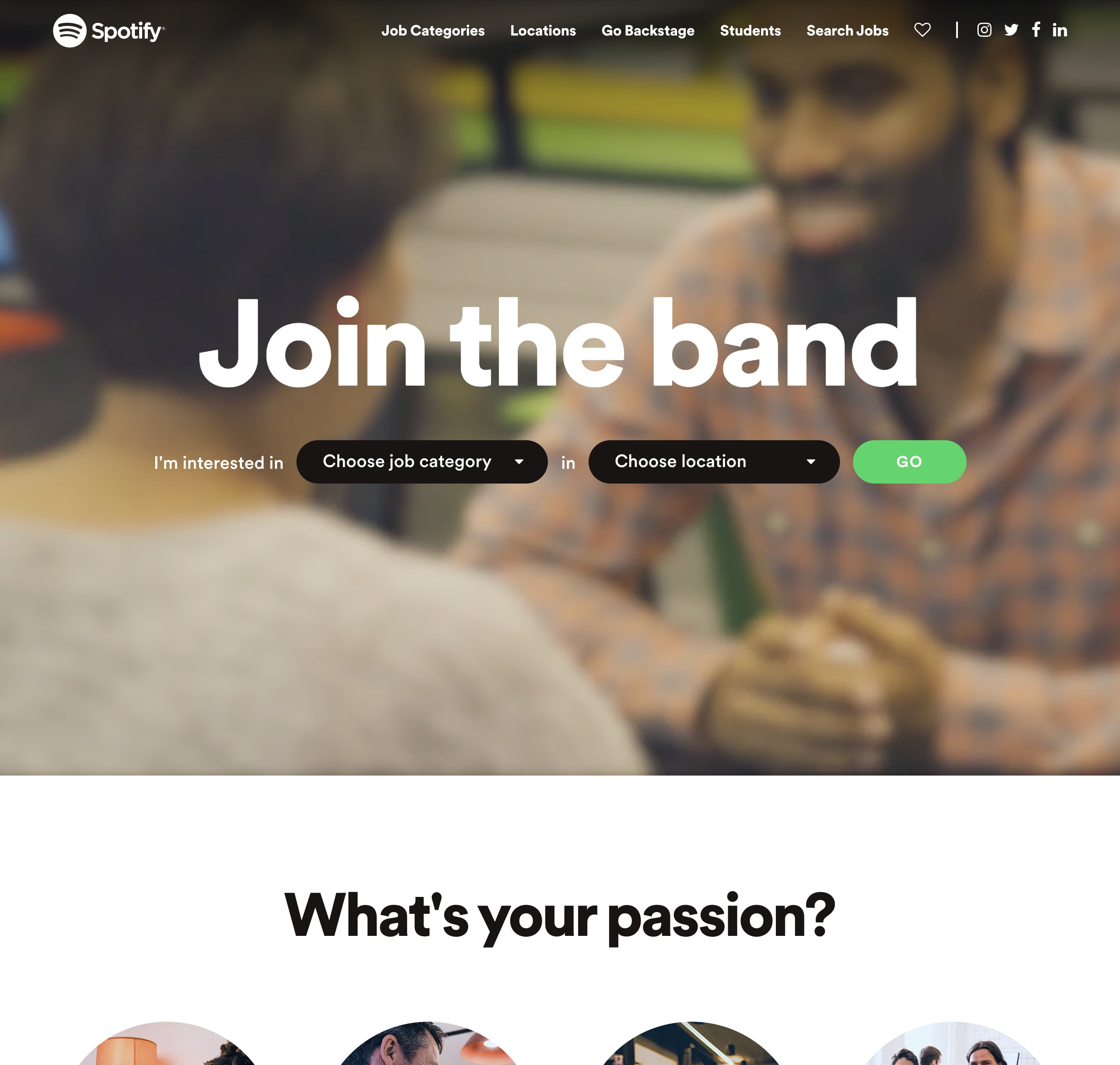 Spotify Career Page Example