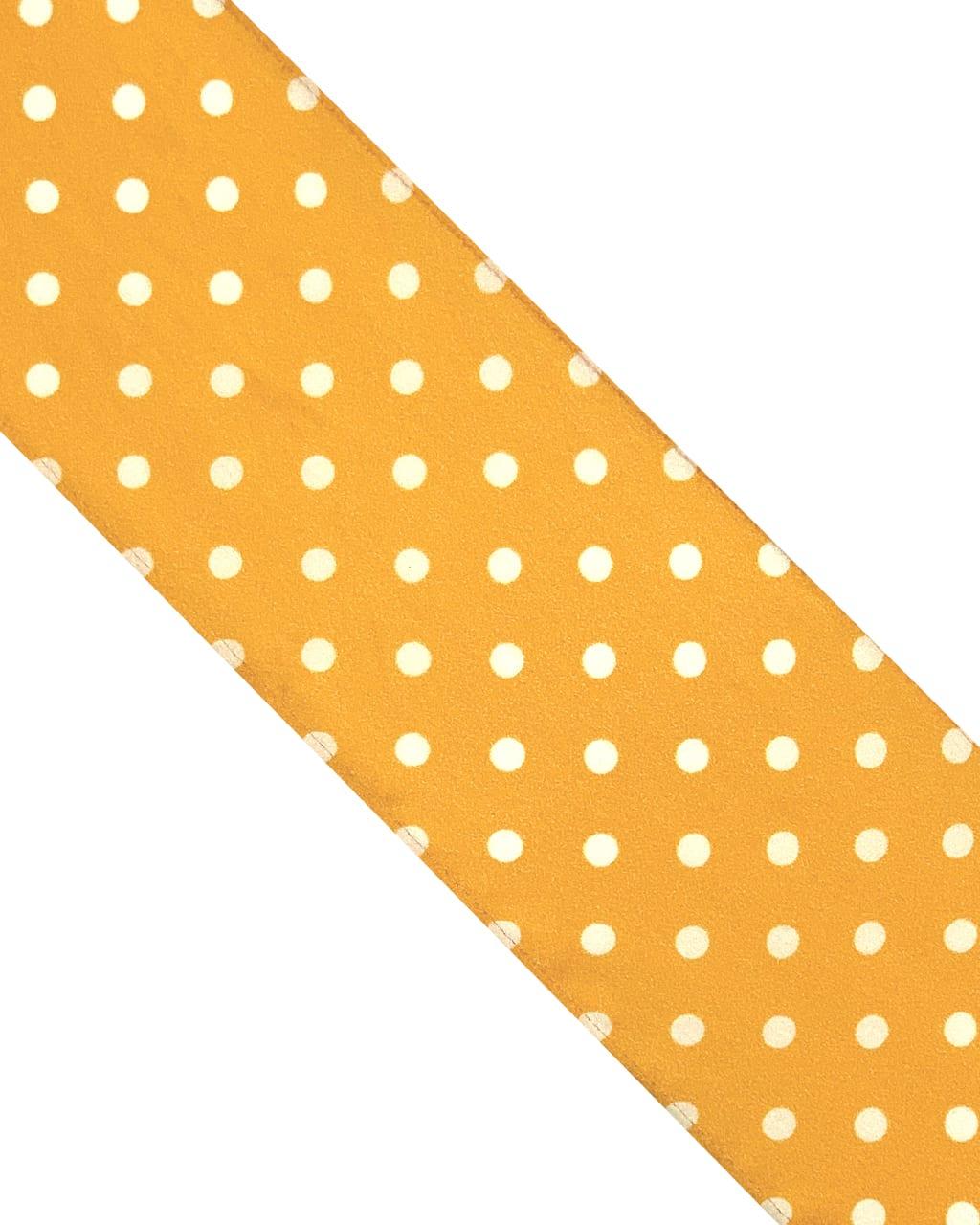 Polka Dot Silk Neck Scarf Saffron