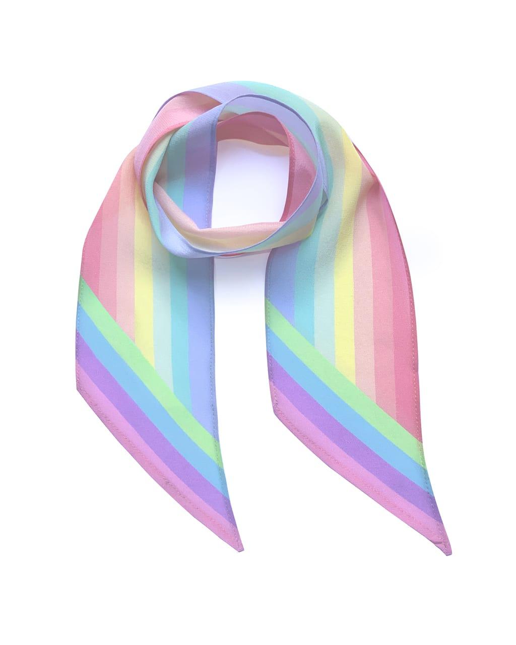 Henley Silk Stripe Neck Scarf Rainbow Pastel