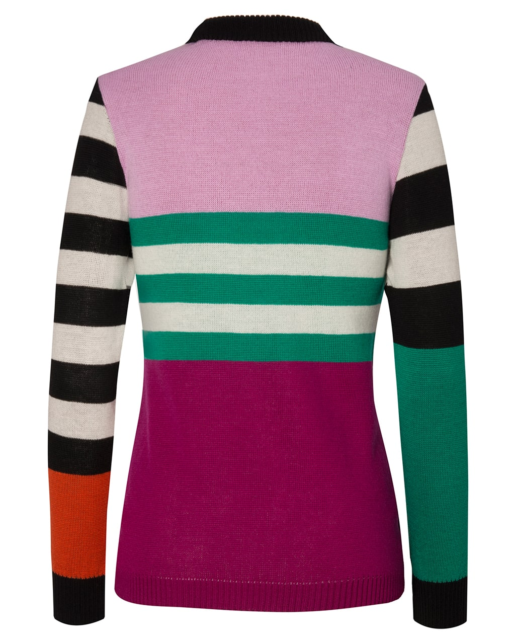 Colour Block Striped Jumper Pink