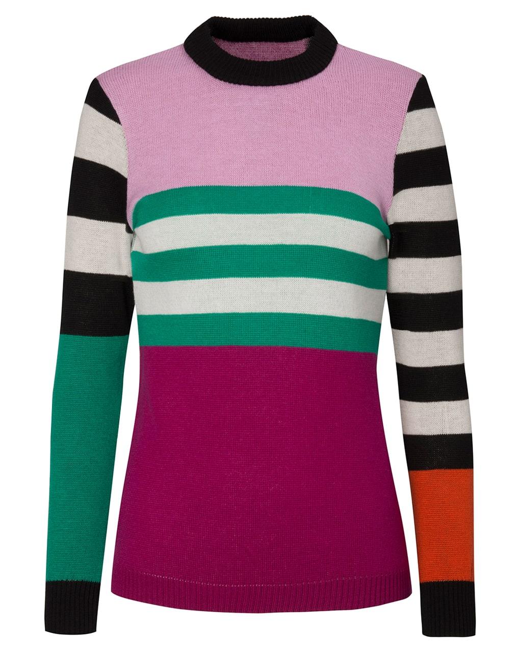 Colour Block Striped Jumper Pink